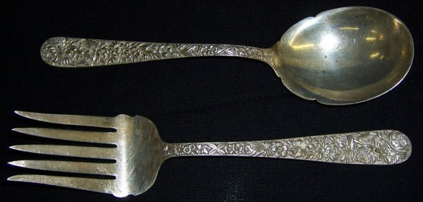 16: Kirk Repousse' serving spoon and meat fork