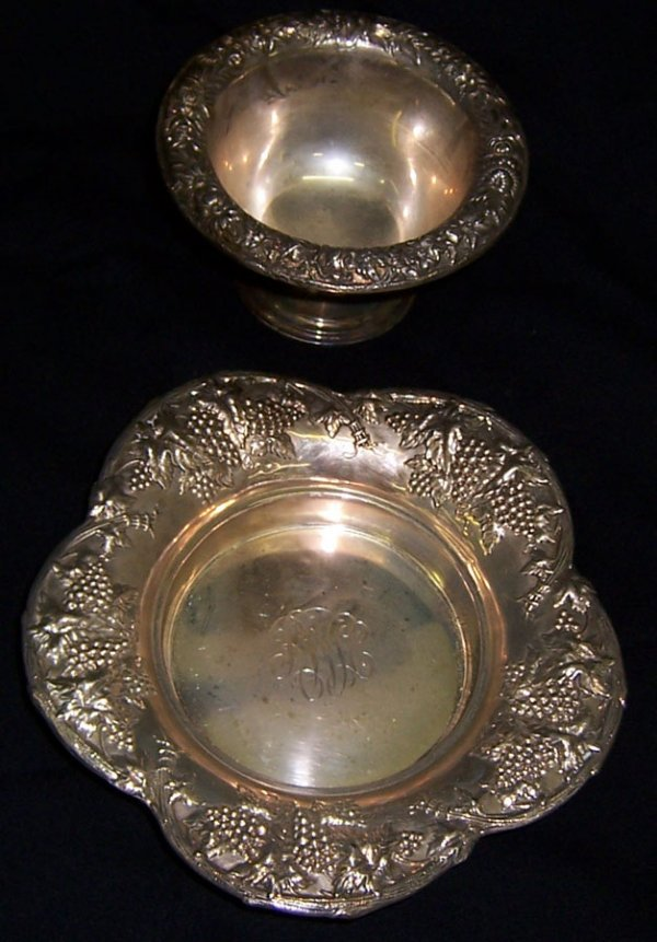 20: Kirk Repousse' sugar dish and sterling bowl