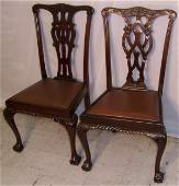 53 Pair carved mahogany Chippendale chairs