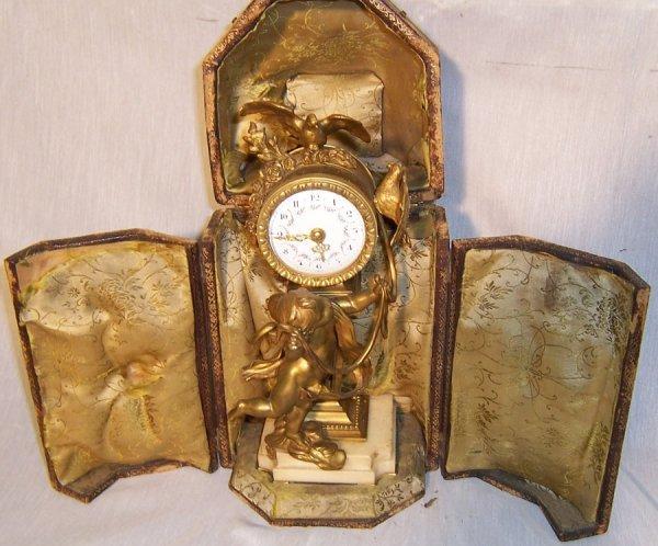 154: French bronze 19th century cupid clock