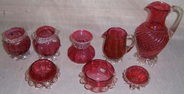1: (8) Miscellaneous pieces Cranberry glass
