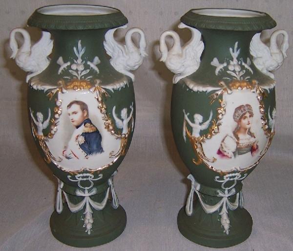 8: Pair salt glaze and porcelain portrait vases