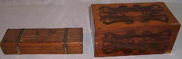 10: Inlaid box and oak box