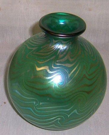 "11: Signed art glass vase - Coniro? (7"" tall)"