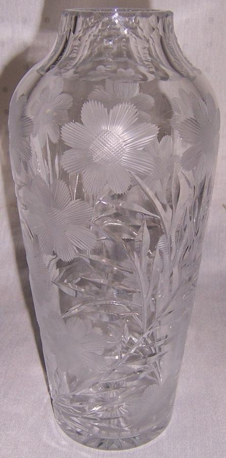 """15: Cut glass vase (11"""" tall)"""