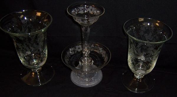 18: Glass epergne and two etched glass vases