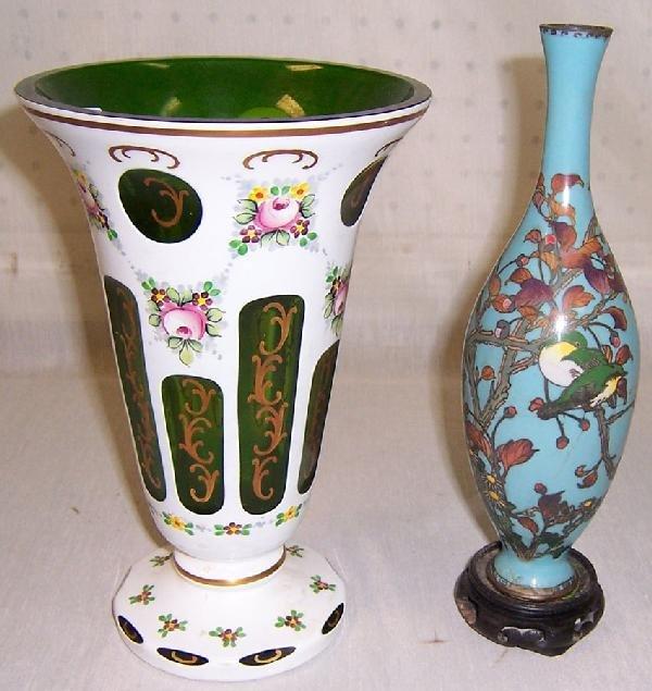 21: Overlay Bohemian vase and Cloisonné bud vase
