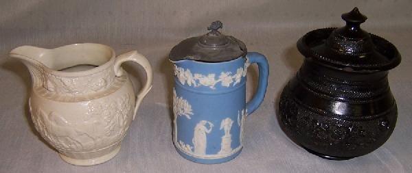 24: Wedgwood pitcher, salt glaze pitcher, & mustard pot