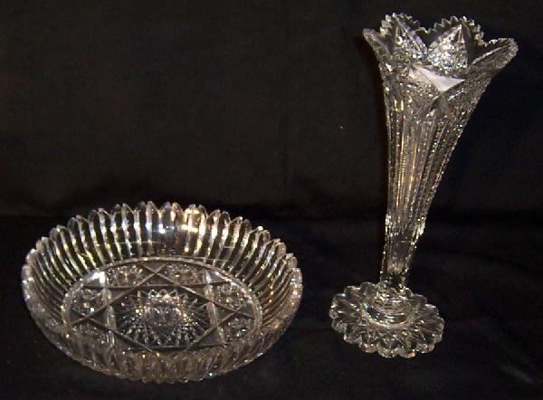 77: Cut glass tulip vase and round flat glass bowl.