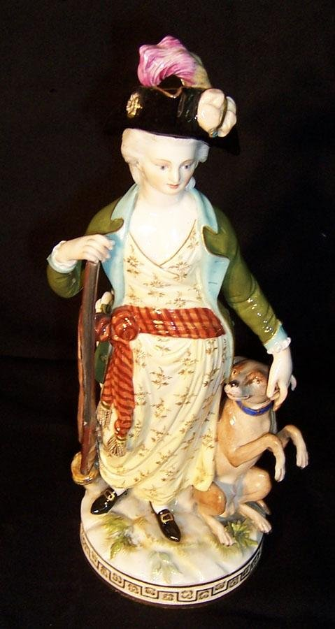 """366: Meissen cross sword statue of lady with dog. 10"""""""