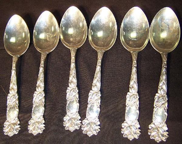 412: 6 sterling serving spoons by Alvin.- 8.93 troy oz.