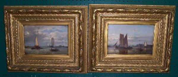 857: Pair of sailing ships oil on canvas signed A. Hulk