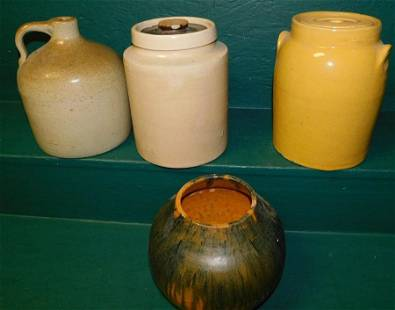 Lot of Butter Crocks, Whiskey Jug, & NC Pottery Vase