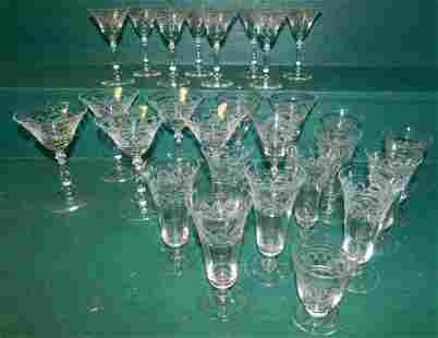 Lot of Etched Stemware