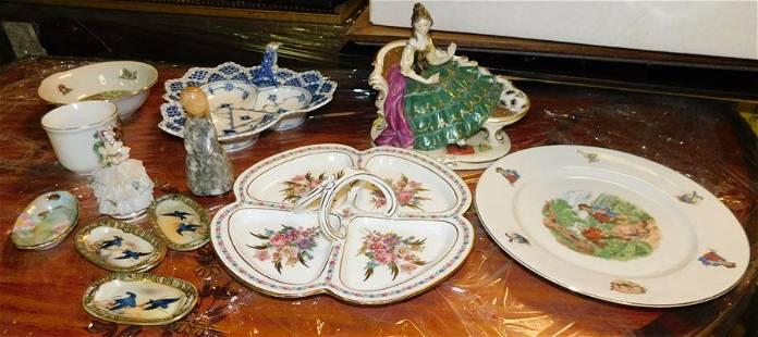 Lot of Porcelain Plates, Bowls, & Figurine