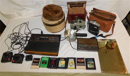 Lot of Vintage Cameras & Fur Hat in Box