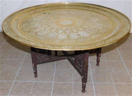 Brass Top Coffee Table On Teakwood Stand