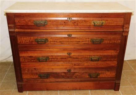 Victorian Walnut 4 Drawer Marble Top Chest