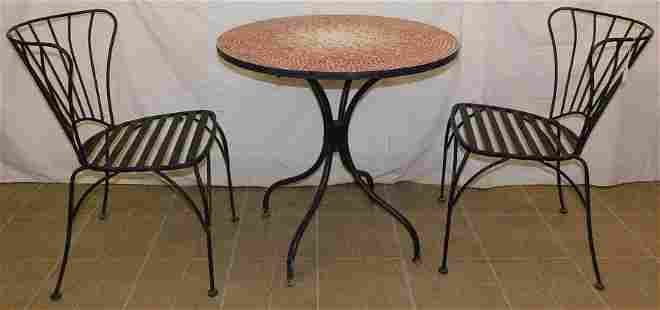 Mosaic Tile Top Table W/ 2 Wrought Iron Chairs