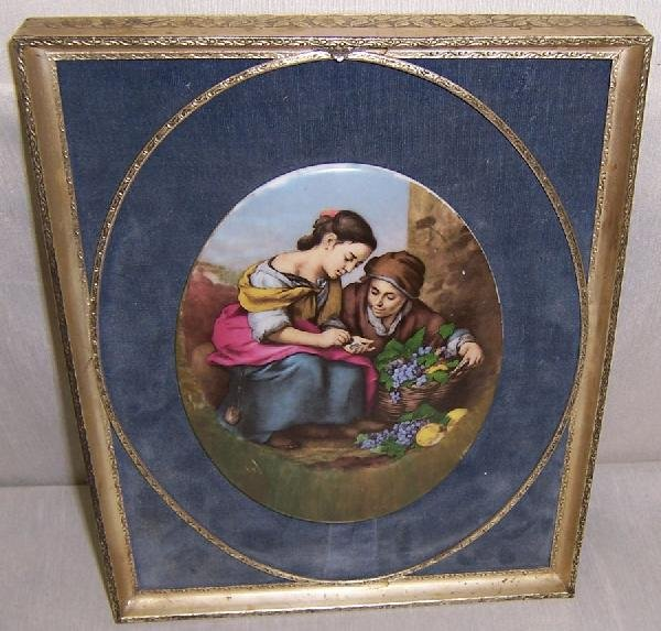 2: Oval hand painted porcelain in frame