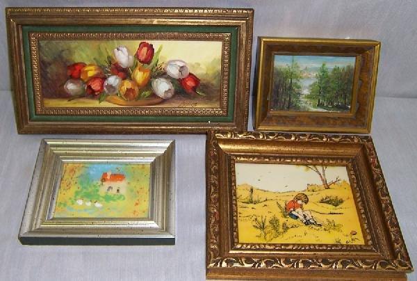 3: 4 miniature oil paintings