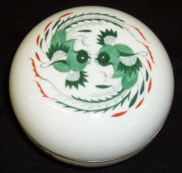12: Oval Meissen cross sword porcelain covered dish
