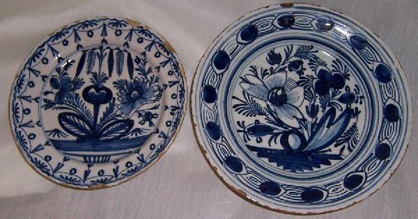 16: 2 18th century Delft plates (with flaking)