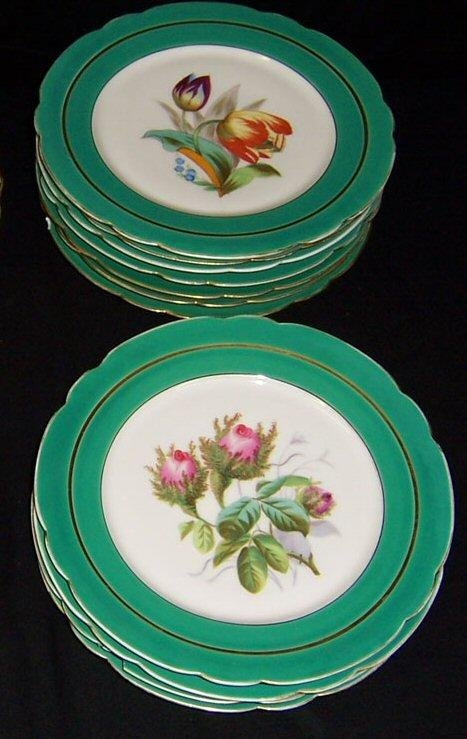 17: 10 hand painted Moss Rose plates