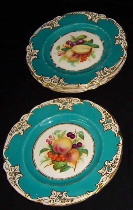 18: 6 Ridgeway hand painted plates