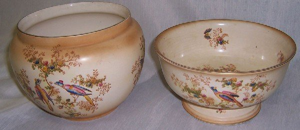 26: Hand painted English bowl and jardiniere.