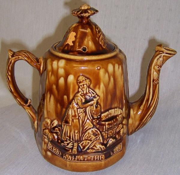 "27: Bennington type tea pot. ""Rebecca at the Well"""