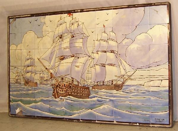 379: Doulton Lambert framed tile -British warship scene