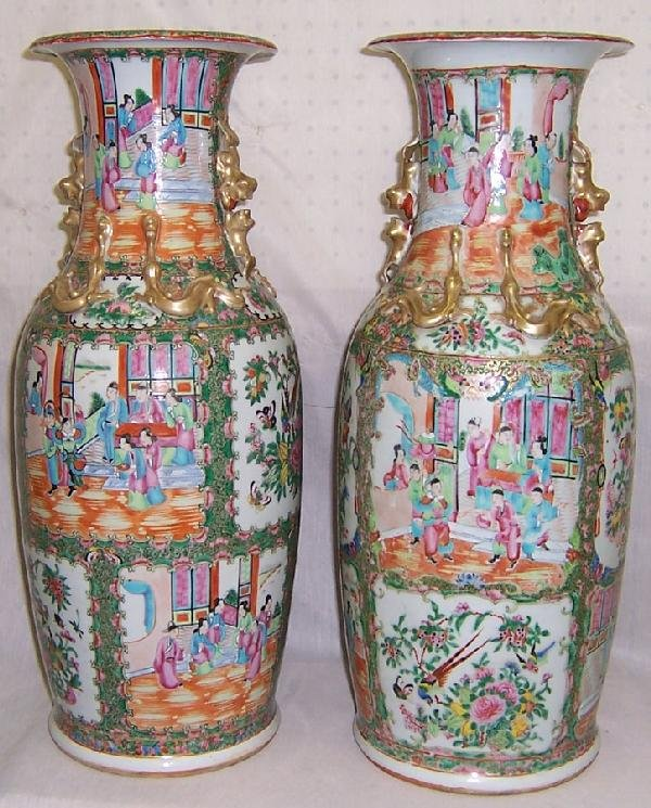 382: Pair of 19th century Rose Mandarin palace vases