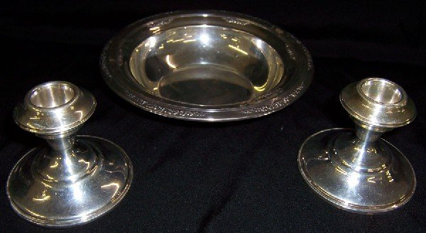 11: International sterling bowl & 2 candlesticks