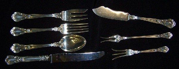 14: 6 misc sterling pcs 1 sterling handled knife.