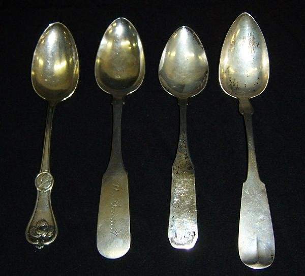 24: 4 coin silver serving spoons. 2 signed Skinner, Bos