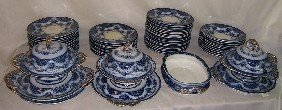 "57 Pc Flow Blue English Dinner Set. ""Sydenham"""