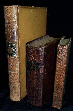3 Books- 2 -leather Bound ,1 Is Early Atlas