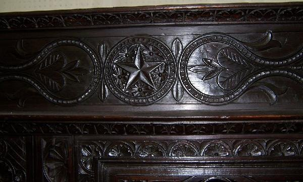 306: 18th century carved Jacobean style wall cupboard. - 7