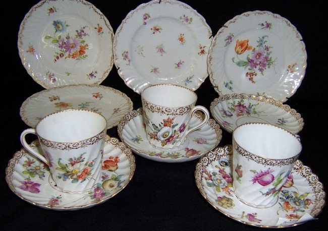 6: 12 pieces of Dresden China.