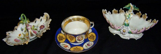 7: 2 Old Paris baskets and gold cup and saucer.