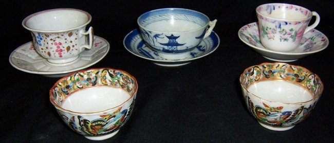 10: 3 18th century cups/ saucers and 2 Mandarin cups.