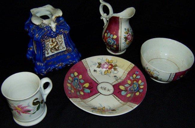 16: 5 pieces of early Old Paris porcelain.