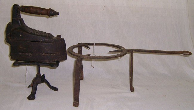 21: Early wrought iron trivet, charcoal iron and trivet