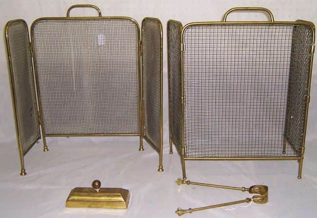 24: 2 matched folding screens, fire tool holder & tongs