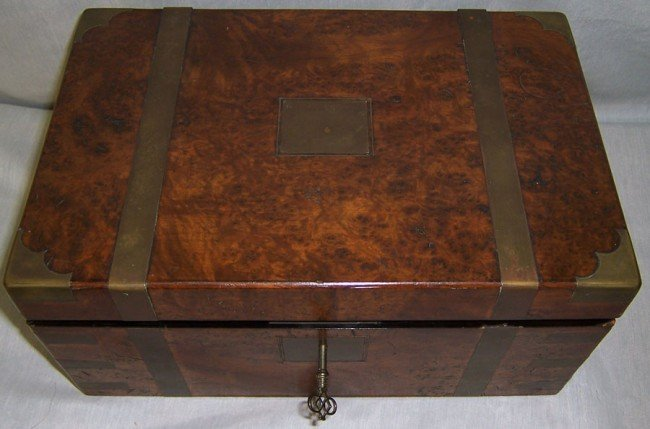 1: Burl walnut brass bound lap desk