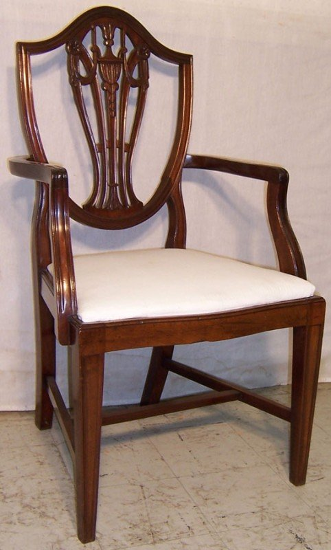 2: Mahogany Hepplewhite arm chair.