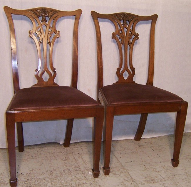 16: Pair mahog. Chippendale straight leg side chairs.