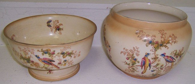 2: Crown Ducal ware bowl and jardiniere
