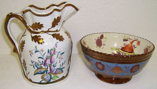 10: Copper luster hand painted pitcher & bowl.